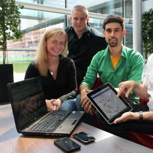 Nicole, Robert und Lukas bauen eine App-für Handy, Tablet und Desktop